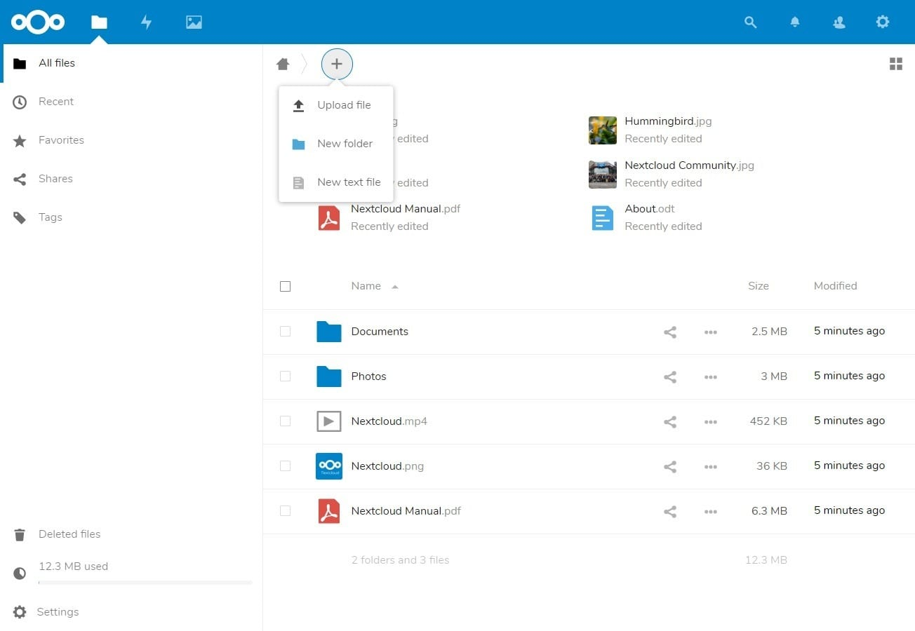 NextCloud - Dashboard